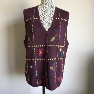 Vintage wool fall autumn leaves floral button down v-neck sweater vest size L